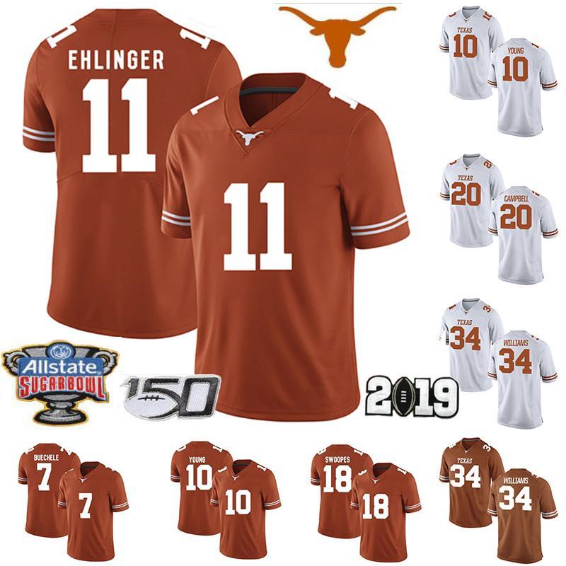 2019 Texas Longhorns Football 11 Sam Ehlinger 26 Keaontay Ingram 10 Vince Young Jersey 20 Earl Campbell NCAA 150e Sugar Bowl Jersey