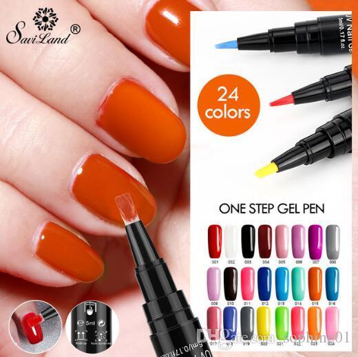 Calda 3 in 1 Gel Smalto per unghie Glitter Pen One Step di chiodo del polacco del gel 24 colori No Bisogno Top Coat Base