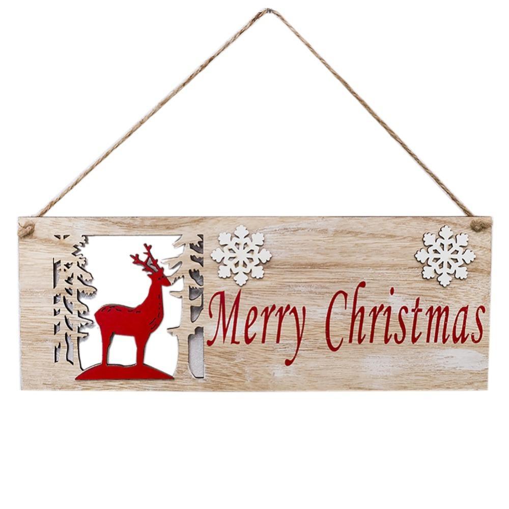 Noël Place Porte en bois suspendu Ornements d'arbre de Noël Pendentif en bois peint Closet Décoration