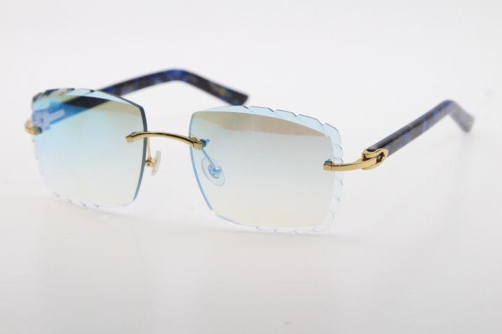 Fabrik Großhandel Verkauf Randlose Sonnenbrille Optical 3524012-A Original Marmor Blauer Planke Hohe Qualität Geschnitzte Linsenglas Unisex Gläser