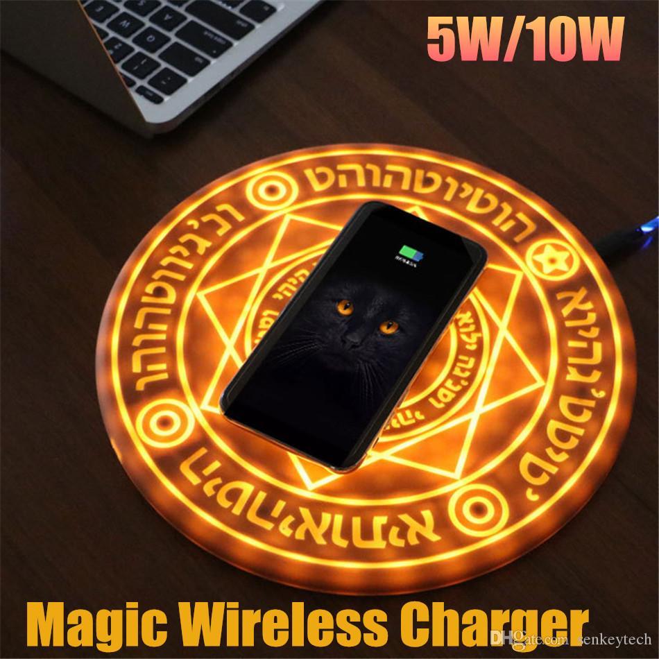 1pcs Glowing magique Tableau 5W 10W rapide Chargeur sans fil Magic Circle Pad Moblie Universal Phone Tablet charge pour Huawei Samsung iPhone
