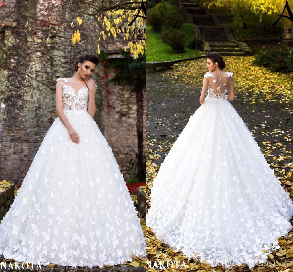 Nouveaux Papillons Hand Made Fleurs Flare Aménagée de mariée robes de mariée Nouveau Sheer cou Sans manches longues Robes de mariée Appliques BA9960
