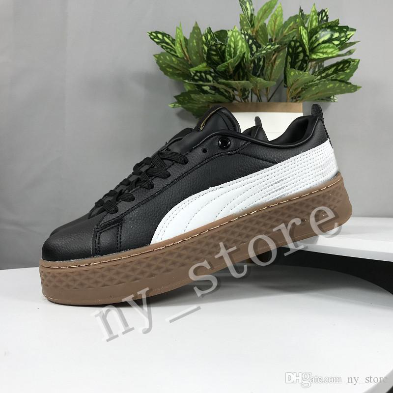 Großhandel New PUMA Smash Platform SD Platform Wheat Pink Casual Shoes Fenty Cleated Creeper Professional Shoes Women PM Suede Creepers Von Ny_store,