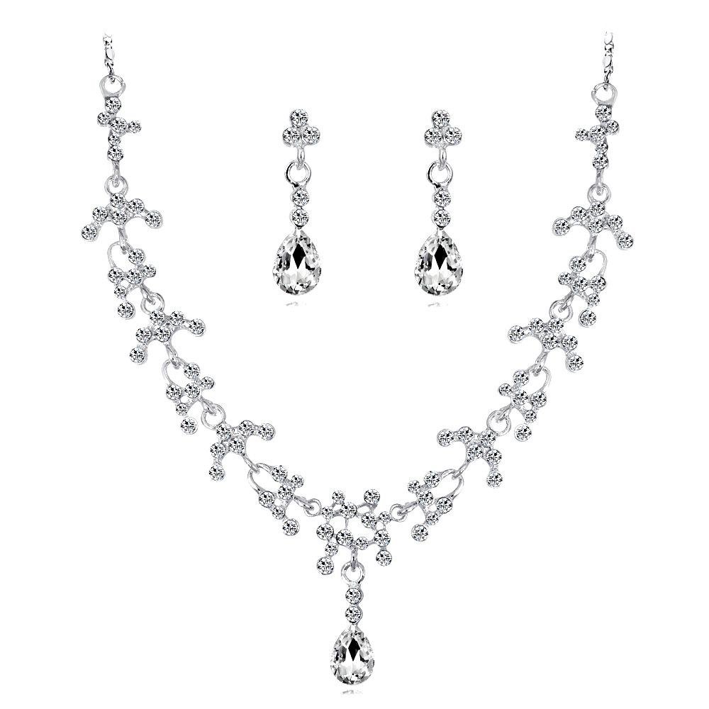 European and American hot bride necklace set fashion necklace jewelry necklace earrings crystal bride set ornament