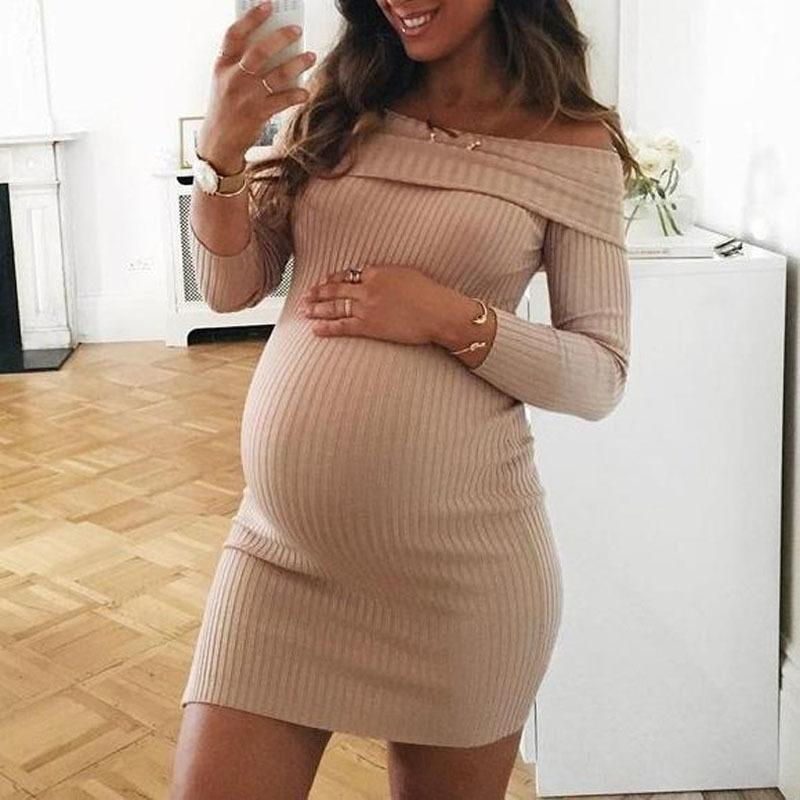 Knitted Maternity Dresses For Pregnant Women Clothes Shoulderless Pregnancy Dresses Gravidas Vestidos Spring Autumn Clothing S200110