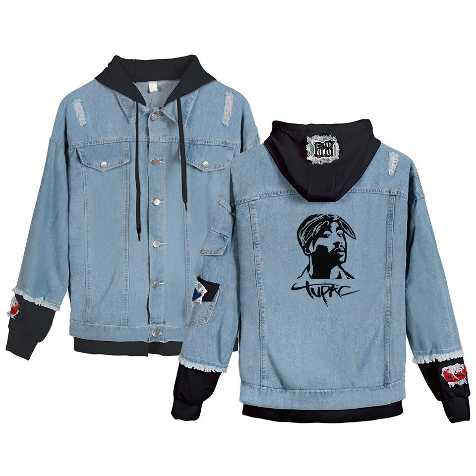 Rapper 2pac Homens Winter Jacket e Brasão Tupac Amaru Shakur com capuz Denim Jacket Moda Mens Jean Jackets Outwear Masculino Cowboy