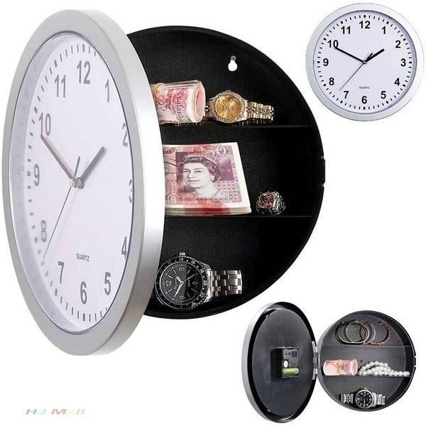 1 قطع الخفية السرية ساعة الحائط آمنة المال خبأ مجوهرات حاوية مربع قوي مربع الحائط الرقمية ساعة ديكور المنزل