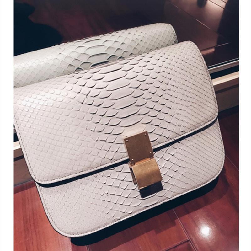 Excellent2019 python femme sac grain grain haricot cuir véritable épaule unique envergure petit paquet carré
