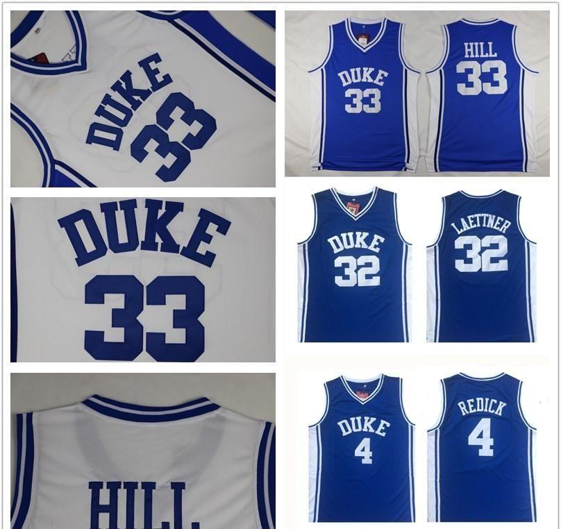 Duke Blue Devils Jersey 4 JJ Redick 32 Christian Laettner 33 Grant Hill Blue White 모든 스티치 NCAA 농구 유니폼 저렴한