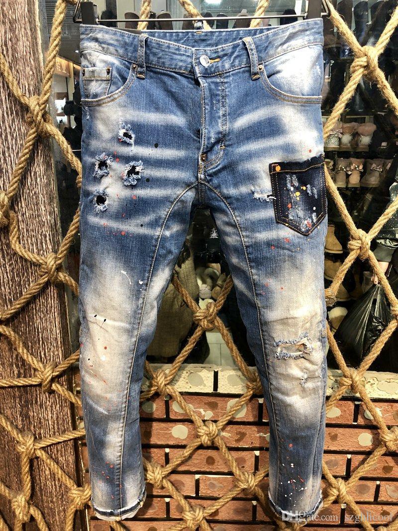 NUEVA LLEGADA mitad de la cintura de los pantalones vaqueros para hombre del monograma bolsillo trasero para hombre de impresión de diseño pantalones y europea estilo americano pantalones vaqueros rasgados