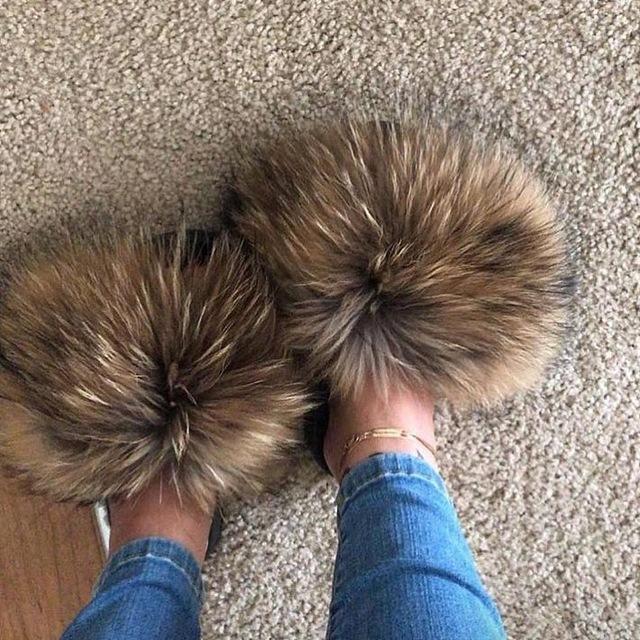 2019 réel fourrure de renard Diapositives gros Furry Sliders femmes dames fourrure main Chaussons mada qualité incroyable