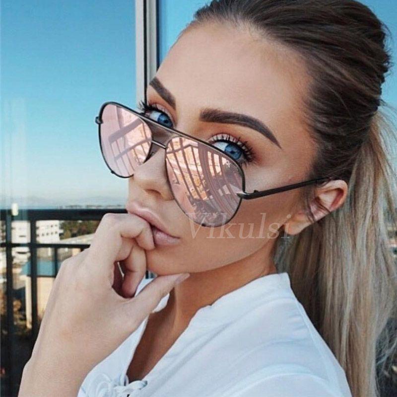 Mayor-Mujeres marca de diseño moda gafas de sol de gran tamaño para mujer piloto Gafas de sol para mujeres cortinas de la manera UV400 Gafas Femme