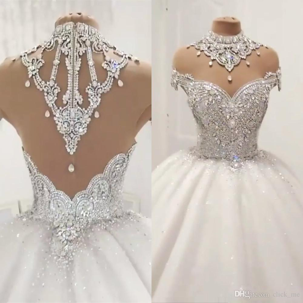 Luxury Ball Gown Wedding Dresses With Sheer Neck Cap Sleeves Beads Crystal Neck High Wedding Gowns Sexy Back Zipper robe de mariee