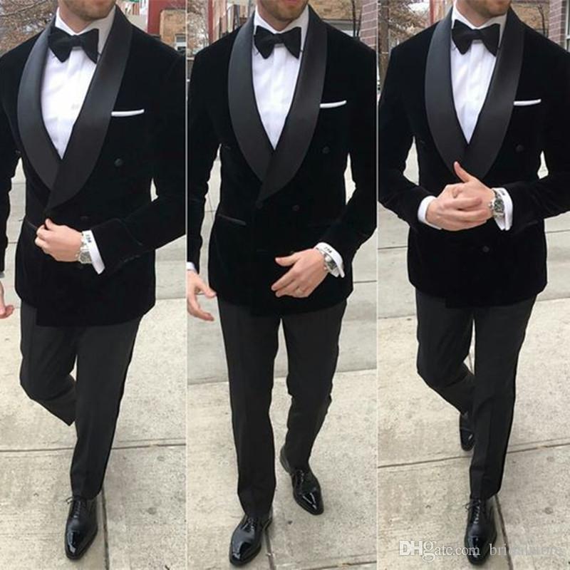 Africano Black Velvet Wedding smoking sposo vestito vestito di nozze per gli uomini 2020 sposa sposo vestito per gli uomini giacca pantaloni Business Plus è adatto al formato