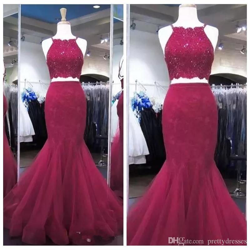 2019 Spaghetti Strips Mermaid Prom Dresses Lace Appliques Top Tulle Formal Two Piece Vestidos De Soiree Customized Evening Party Gowns Cheap