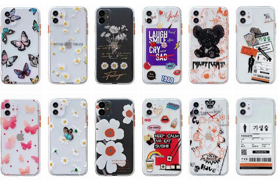 Shockproof Soft TPU Case For Iphone 11 Pro XS MAX XR X 8 7 6 6S Plus Kiss Lip Flower Butterfly Bear Cartoon Luxury Fashion Clear Phone Cover