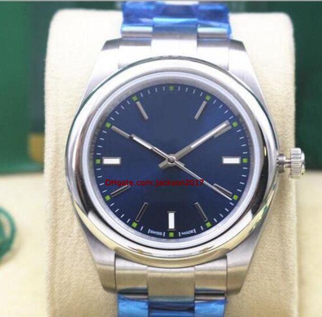 Рождественский подарок 5 Стили 04 Неиспользованные 40 мм Стальные браслеты Стальные вечные Смотреть модель 116000 Индексные циферблаты Автоматические механические мужские часы