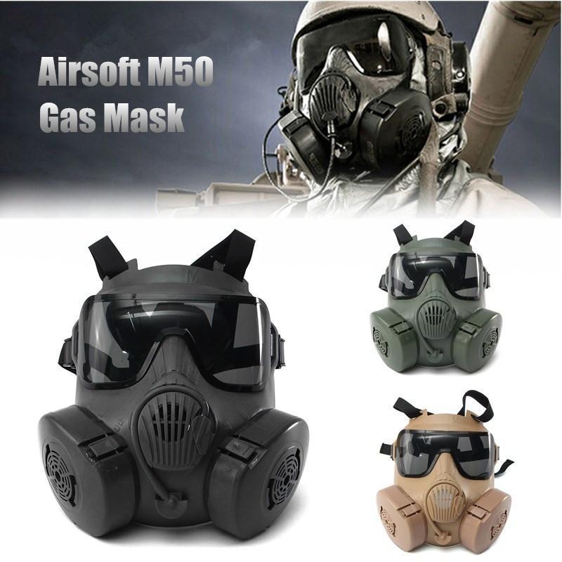 Halloween DC-15 M50 Full Face Crânio CS Gas War Game Tactical cosplay do partido da máscara Areia / verde / preto Y200103