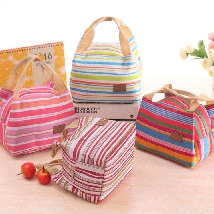 Borsa termica Stripe Tote Bags sacchetto scatola di pranzo del dispositivo di raffreddamento di picnic cibo etya isolato il pranzo per i bambini delle ragazze delle donne Ladies Man bambini D19010902