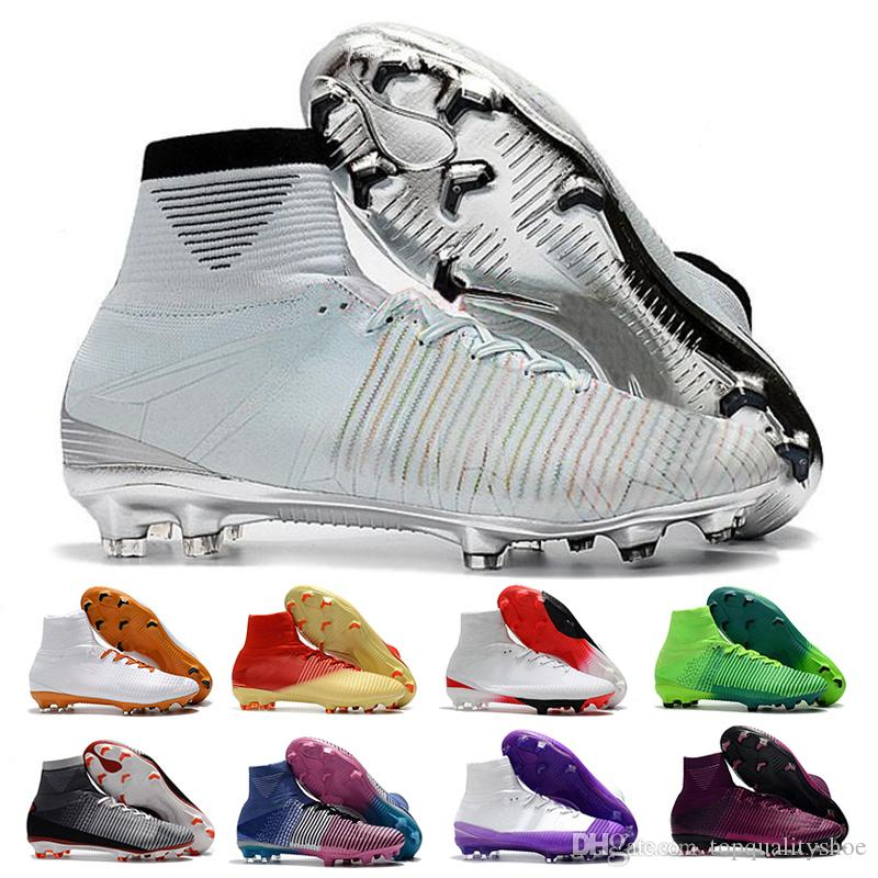 Mercurial Superfly CR7 V Soccer Shoes FG Women Men Football Boots Magista Obra Youth Soccer Cleats Cristiano Ronaldo Size 39-46