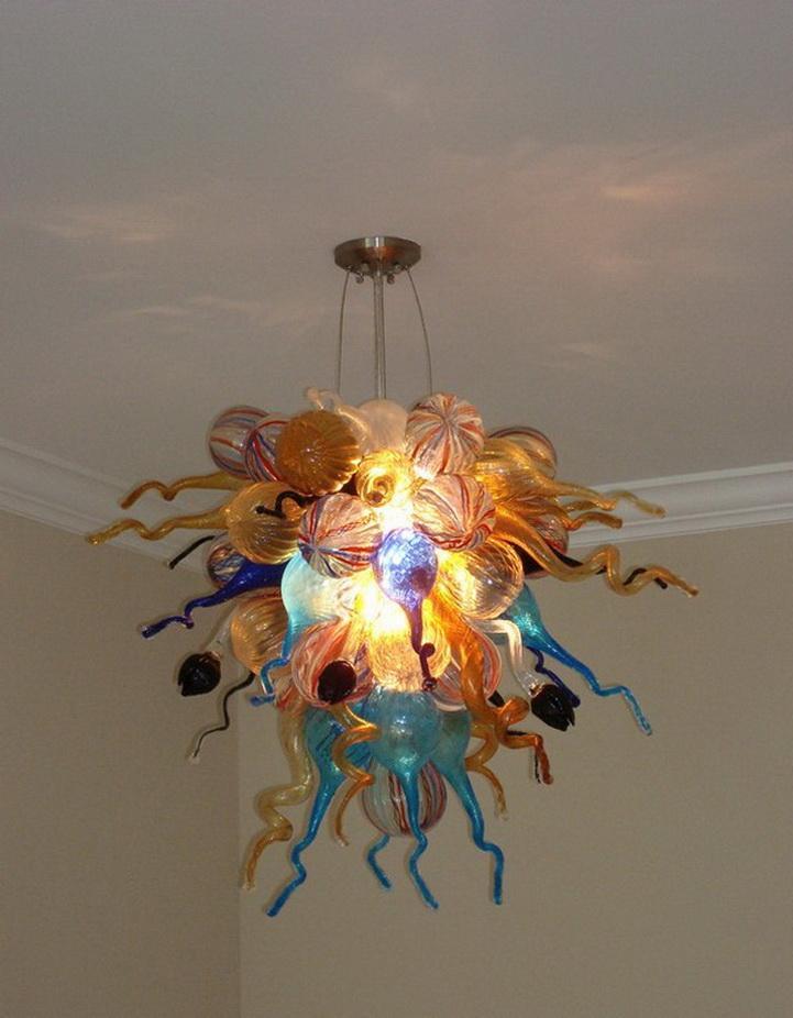 Moderne Kristallleuchter-Beleuchtung Kunst-Dekoration Schöne LED-Lichtquelle Chihuly Art-Hand Blown Murano-Glas Kronleuchter hängend