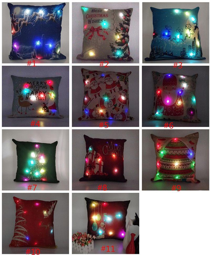 Led lumière Taie lumineux Décorations de Noël Taie d'oreiller renne du Père Noël Imprimer Taie Canapé Décor voiture Housse de coussin de Noël