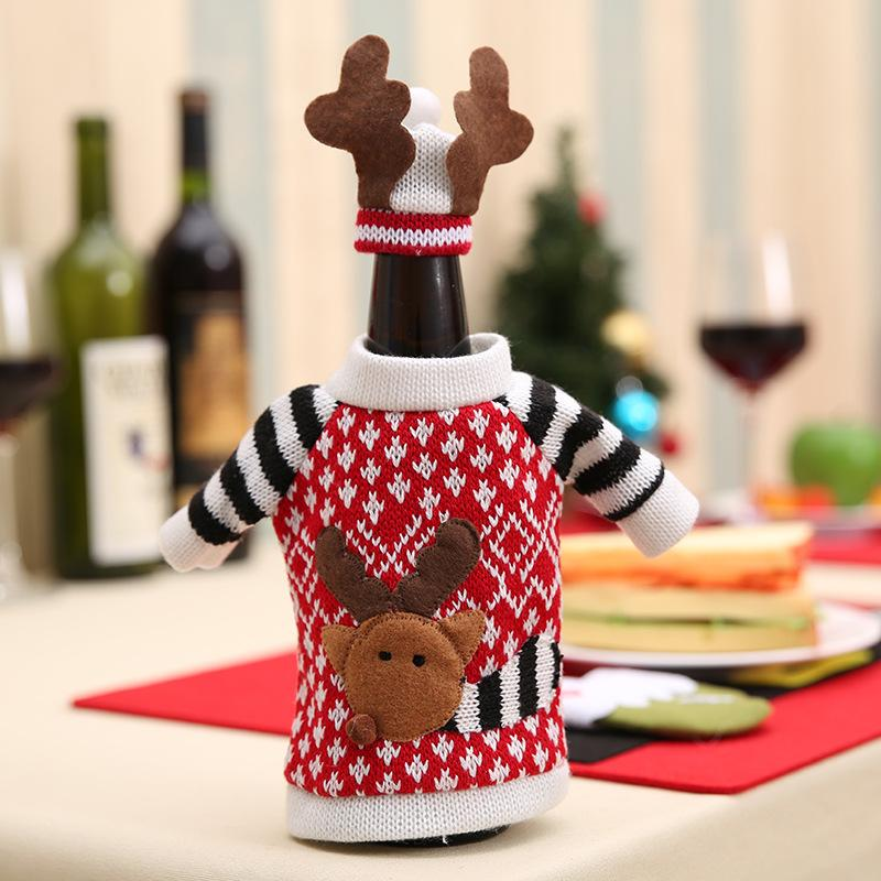 Cute Fashion Cloth Red Wine Bottle Cover Bags Deer Sweater Christmas Decoration Supplies Home Party Santa Claus Christmas