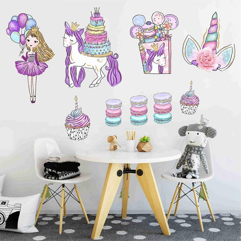 التجزئة 2 أنماط الاطفال pvc كتابات ملصقات يونيكورن كعكة ملصقات الحائط الأطفال الجدار ملصق ملصقات خلفيات ديكور المنزل ديكور