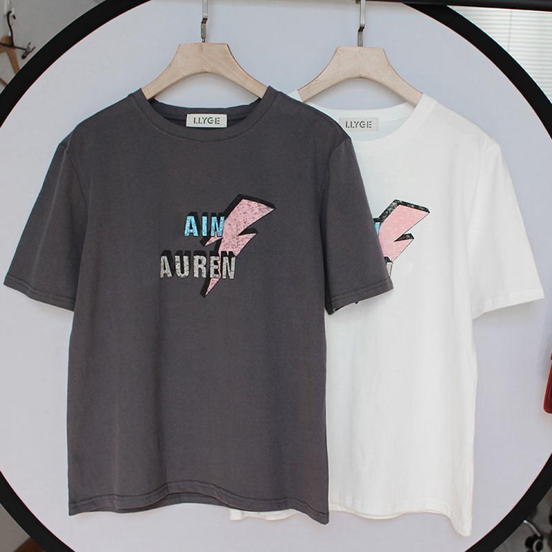 100 %면 여성 반팔 T 셔츠 최고 O-목 블랙 화이트 문자는 T 셔츠를 여성 여름 레이디 티 탑 인쇄