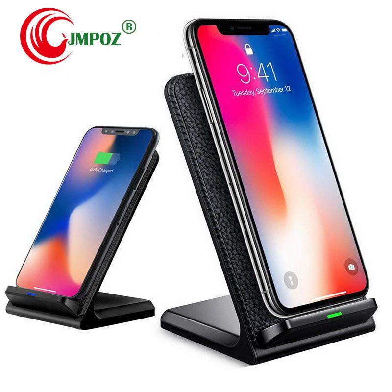 Cargador inalámbrico QI de 10W carga rápida 2,0 carga rápida para iPhone 8 10 X Samsung S6 S7 S8 S9 S10 2 bobinas soporte 5V 2A  9V 1.67A