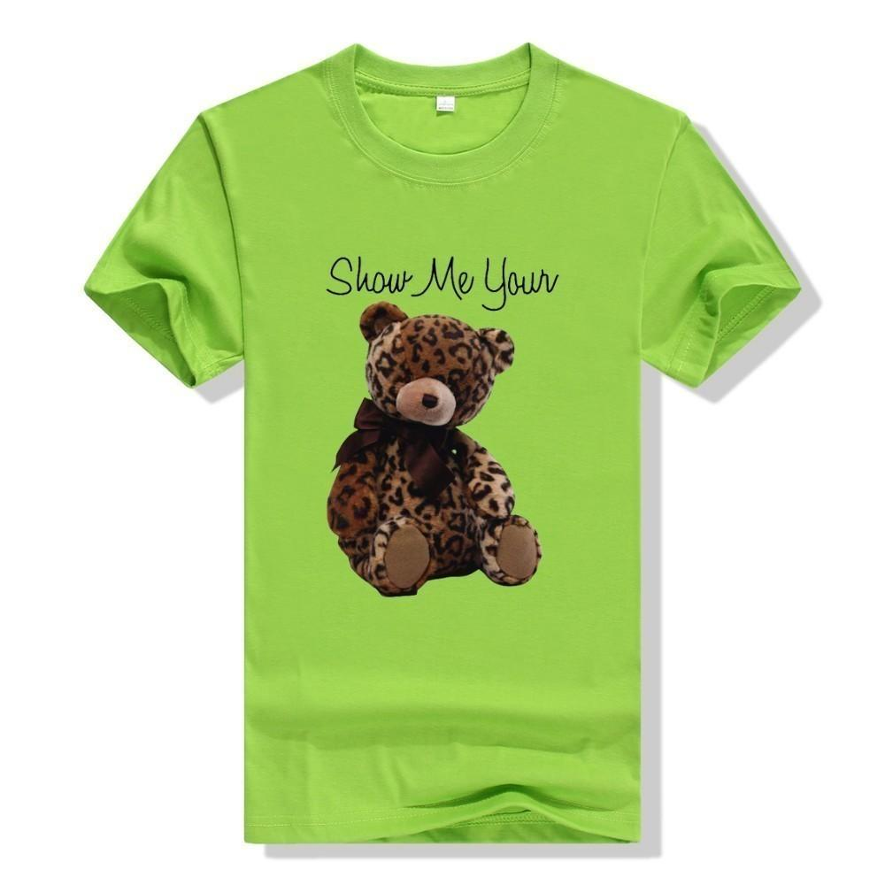 2019 new fashion men and women with the same T-shirt handsome fashion with imported fabrics leopard bear print