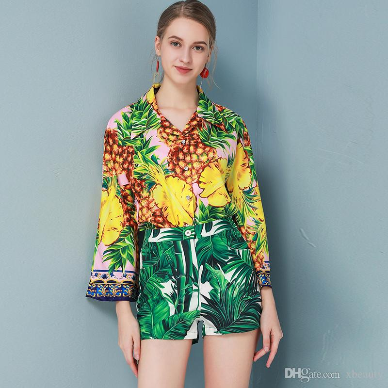 Women's Runway Twinsets Turn Down Collar Long Sleeves Printed Shirt with Floral Short Fashion Spring Summer Two Piece Pant Sets