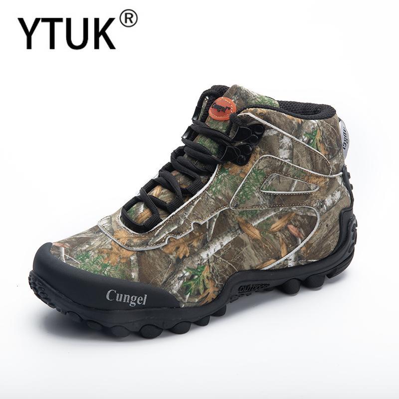 YTUK 2020 nuevos hombres Tactical Boots primavera impermeable Camo lienzo camping senderismo de arranque que sube del hombre al aire libre zapatos de senderismo