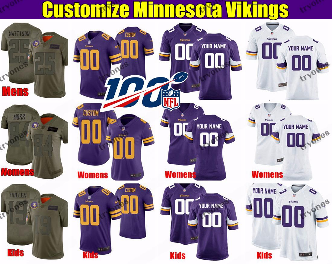 New Men/'s Minnesota Vikings Purple Jersey Customize