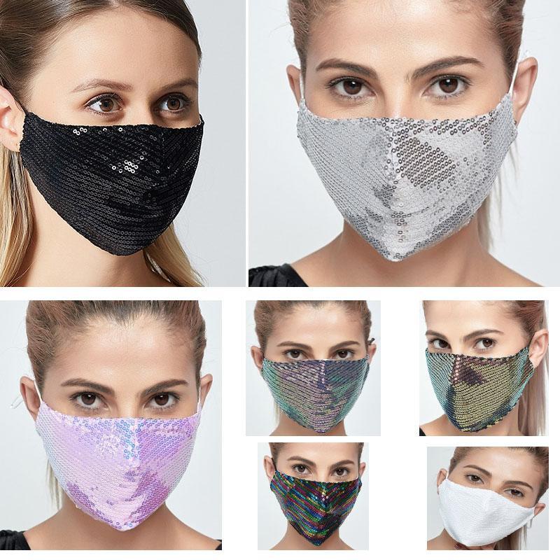 Moda de las lentejuelas de Bling máscara máscaras lavable PM2.5 protector de cara multicolor lentejuelas brillantes Cara cubrir la boca Anti-polvo Boca máscara DHL HH9-3104 gratuito