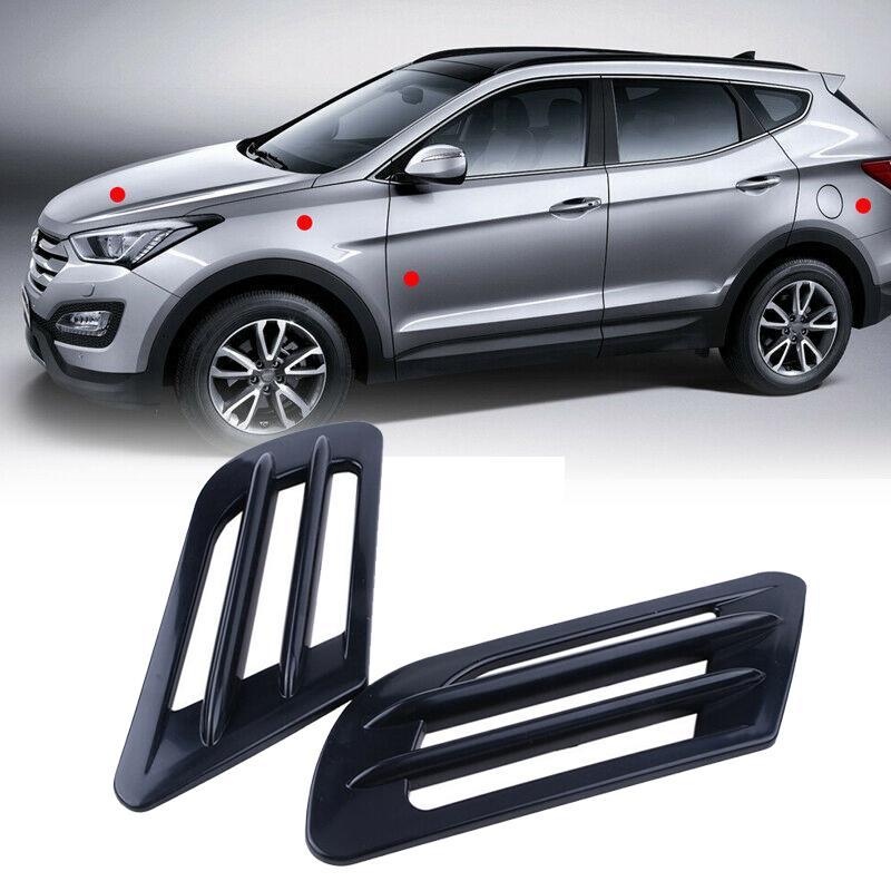 2Pcs Plastic Chrome Car SUV Air Flow Fender Side Vent Decoration ABS Sticker
