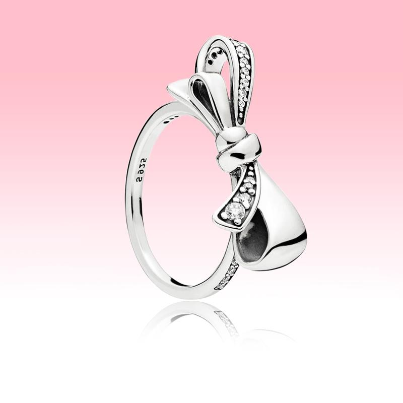 High quality Sparkling Bow Ring Women Summer Jewelry for Pandora 925 Sterling Silver Party Rings with Original box set
