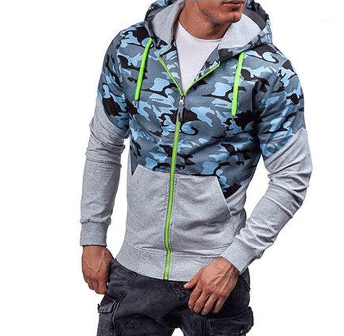 ملابس الرجال المرقعة التمويه مصمم هوديس Camoi زيبر مقنع عادية وبلوزات الخريف الربيع