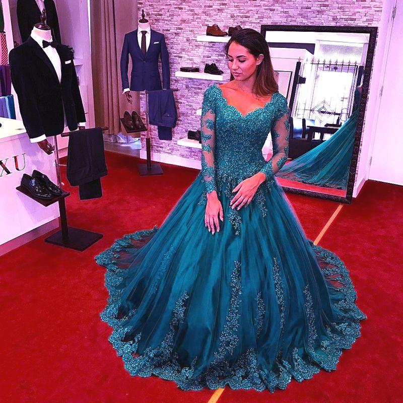 New Elegant Lace A-Line Evening Dresses V Neck Long Sleeve Appliques A Line Formal Occasion Dresses Custom Made Hot Sale DH137