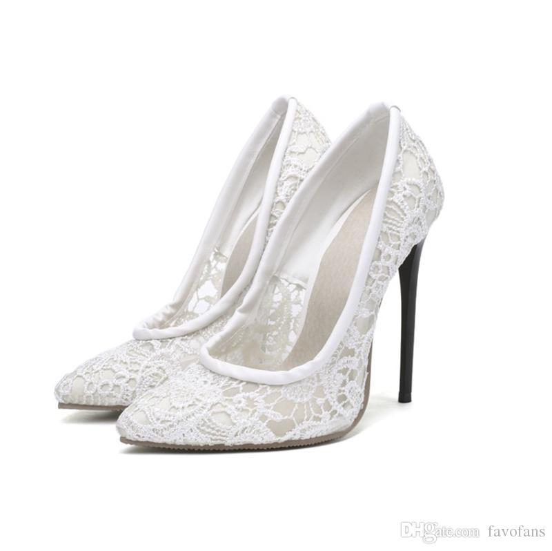 Favofans Femmes Slip Sur Sexy Stiletto Chaussures À Talons Hauts Dames Cut-Outs Dentelle Bout Pointu Soirée Sandales Pompe FF-S1176