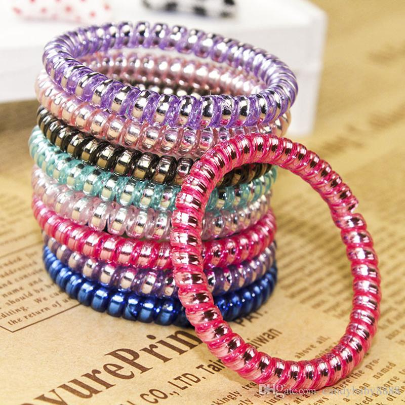 High Quality Telephone Wire Cord Hair Tie Girls Elastic Hair Band Ring Rope Candy Color Bracelet Stretchy Hairbands Mixed color C1450