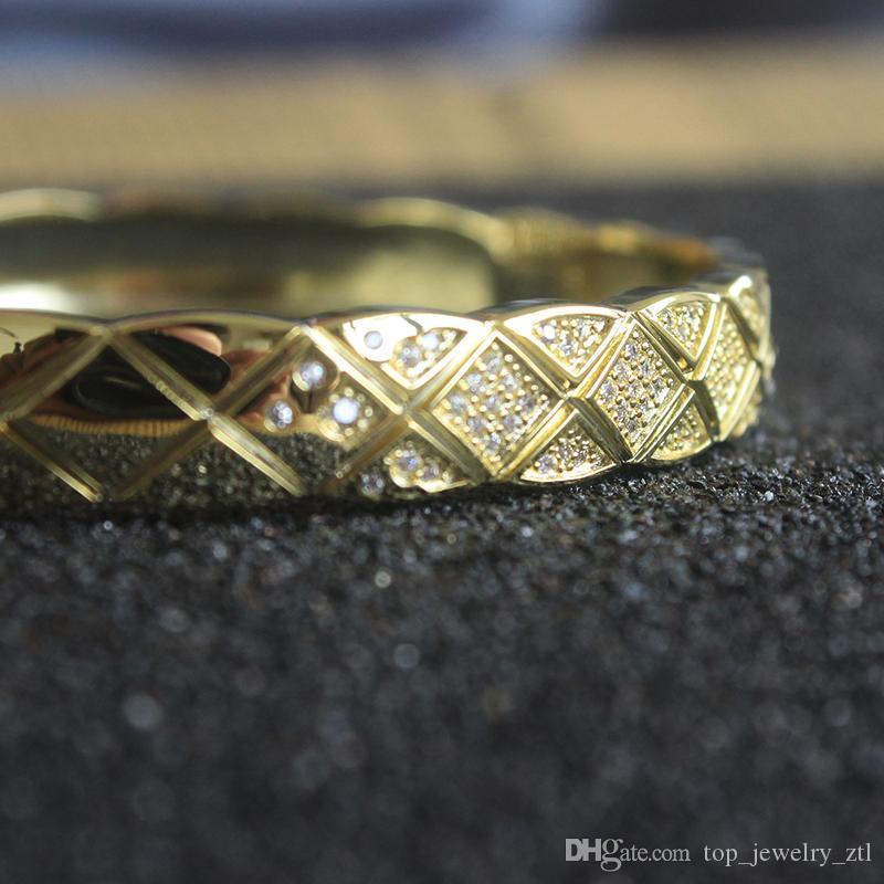 Измельчите Алмазный браслет Женщины Vintage ювелирные изделия 18k Золотые браслеты Charms партии изящных ювелирных изделий