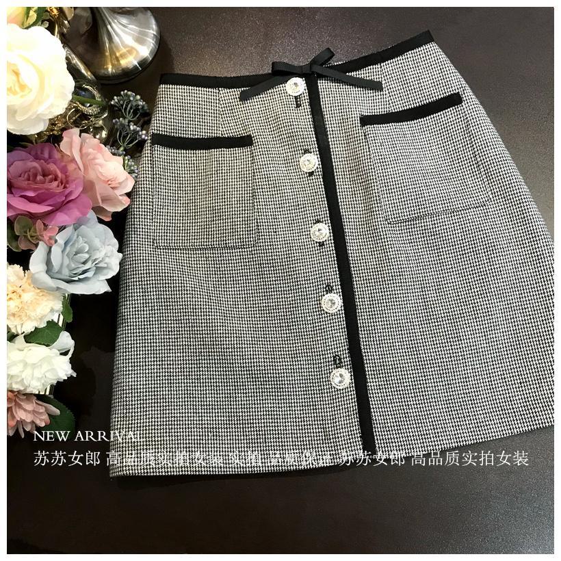 2020 новых женщин способа смычка заплата черный белый ломаную клетчатые кнопки шаблон сетки горный хрусталь а-линия короткая юбка S M L