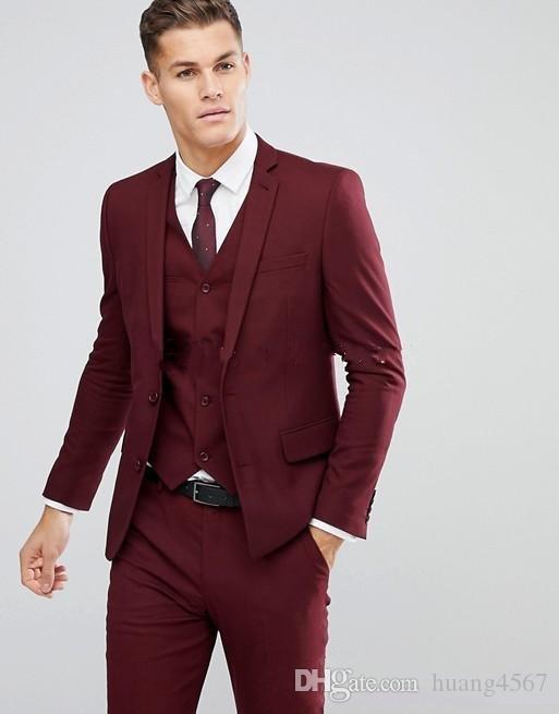 새 스타일 두 단추 와인 웨딩 신랑 턱시도 노치 옷깃 신랑 맨 남성용 복장 프로모션 블레이저 (자켓 + 바지 + 조끼 + 넥타이) 154