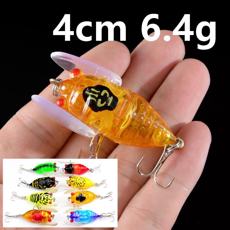 8 colori 4 centimetri 6.4g Cicala Pesca Ganci ami 8 # amo da pesca richiamo duro adesca i richiami Pesca Attrezzatura di pesca Accessori WL_23
