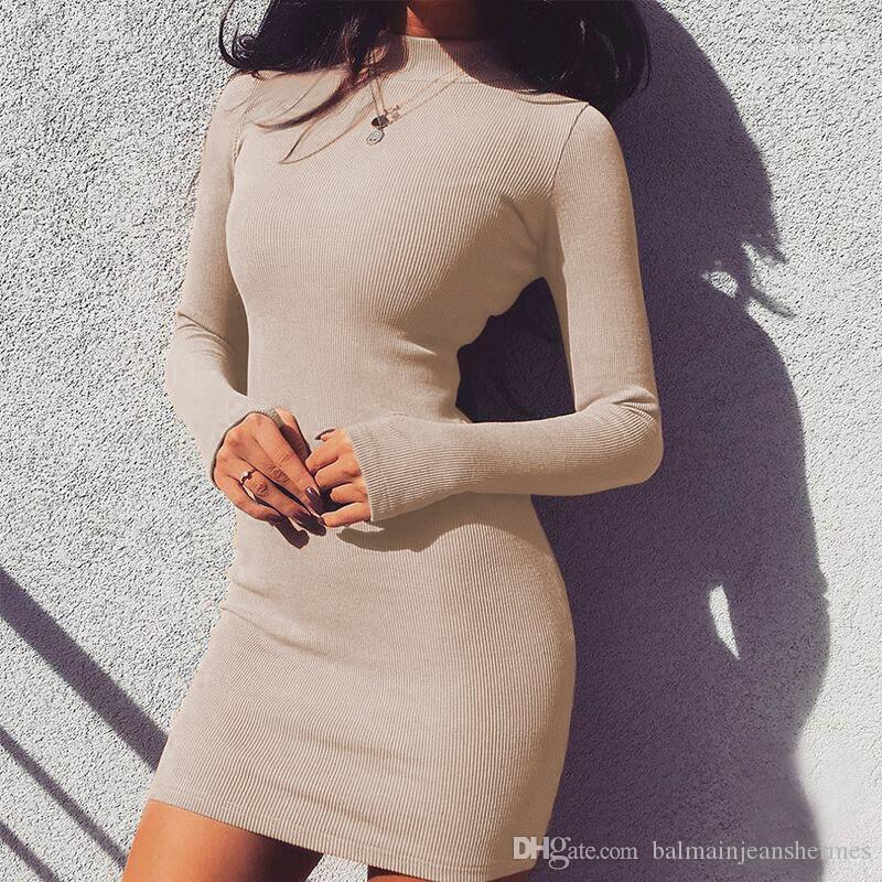 السيدات Bodycon اللباس الخريفي Womens الصلب اللباس مثير طاقم الرقبة الفساتين
