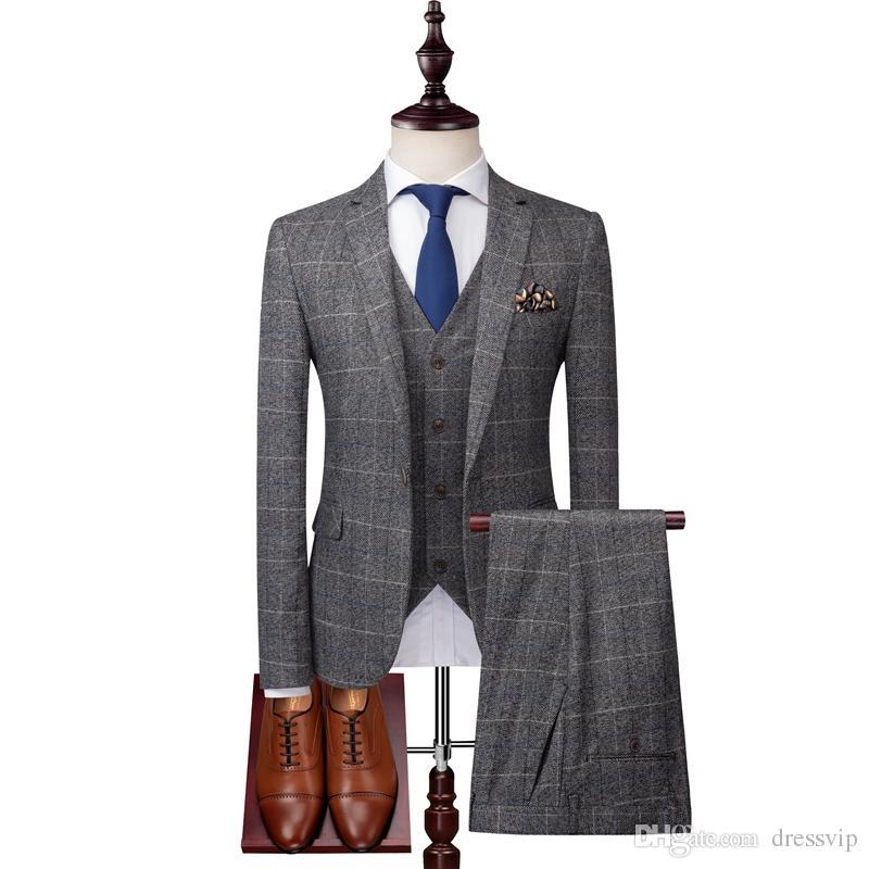 2019 Grey Mens Suits Tweed Wool Check Suits Regular Fit Groom Tuxedos Custom Made Plaid Wedding Tuxedos Formal Dress