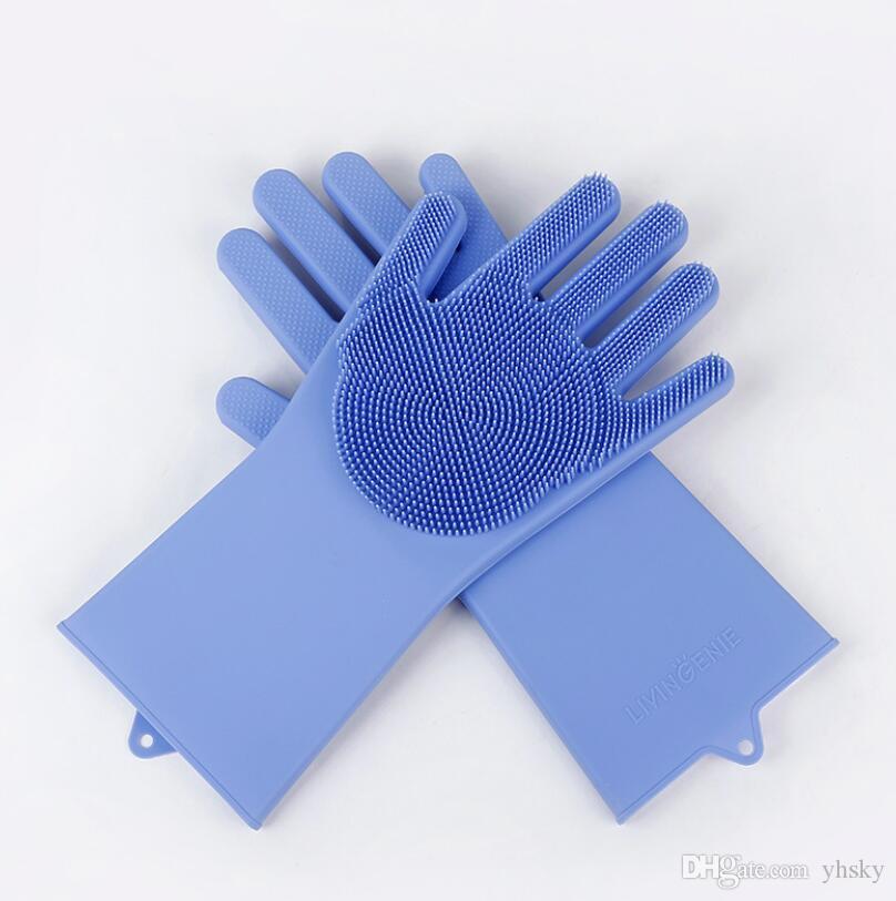Luvas novo Magic Silicone louça purificador de lavar roupa de esponja de borracha Scrub luvas de cozinha da limpeza 1 par Limpeza do Lar colorido,