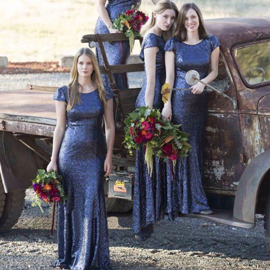 Bling bling lentejuelas sirena dama de honor vestidos Scoop Mangas cortas Vestidos de dama de honor Vestido de invitado de boda formal Vestidos
