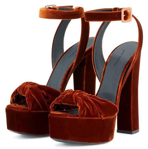 Sexy Peep Toe Bowknot Sandalen Frauen Starke Absätze Samt Sandale Schnüren Plattform High Heel Schuhe Frau Sommer Braun Leder Kleid Heels
